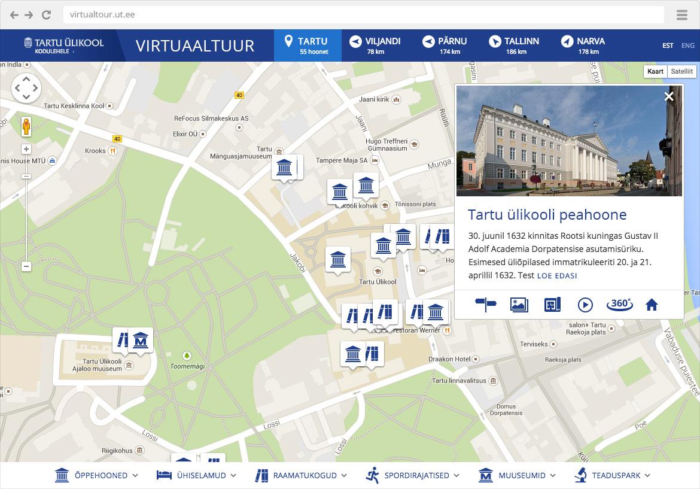 Case study: Tartu Ülikooli kaartide veebikeskkond - kaart